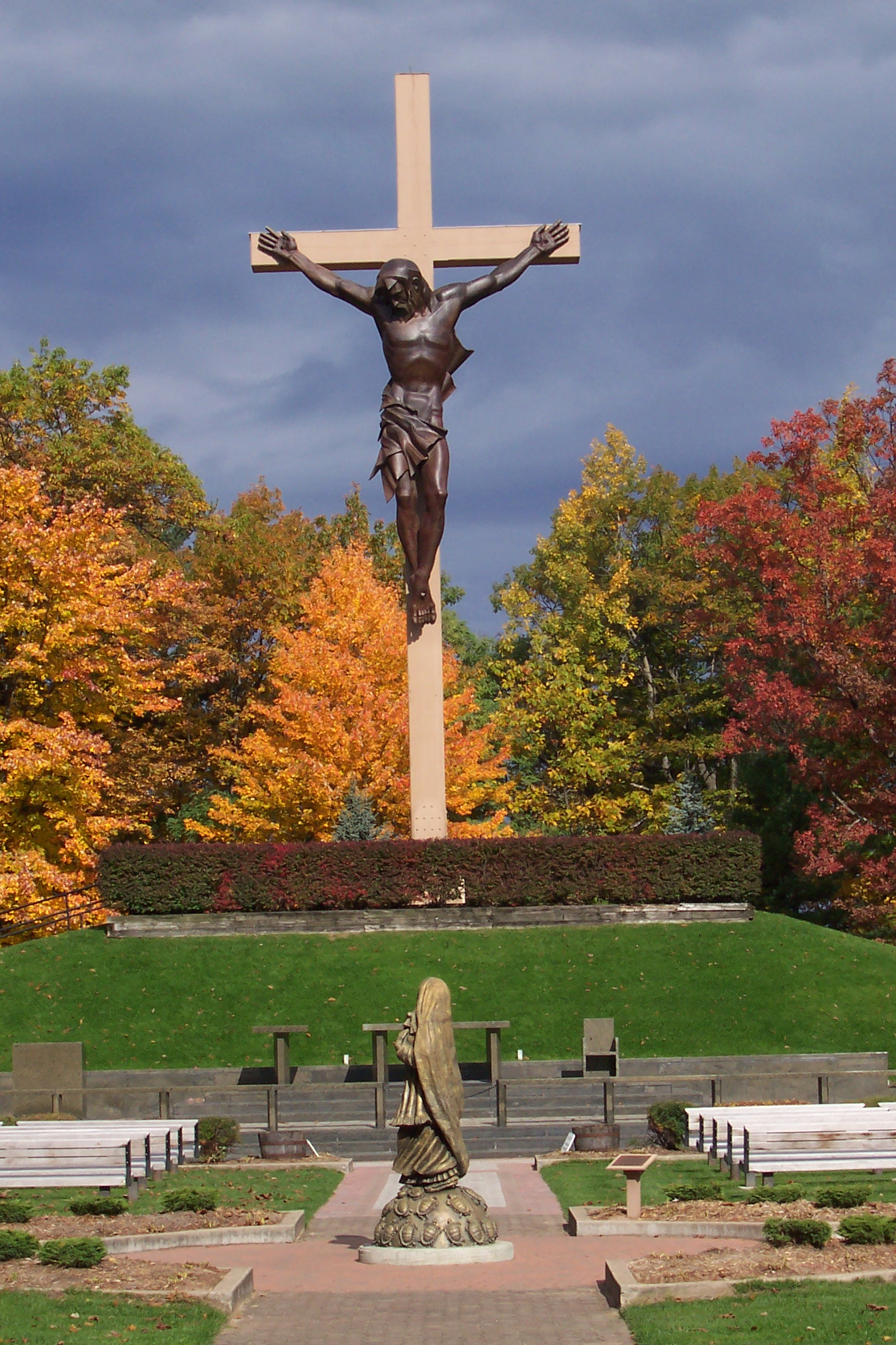 the national shrine of cross in the woods the man on the cross